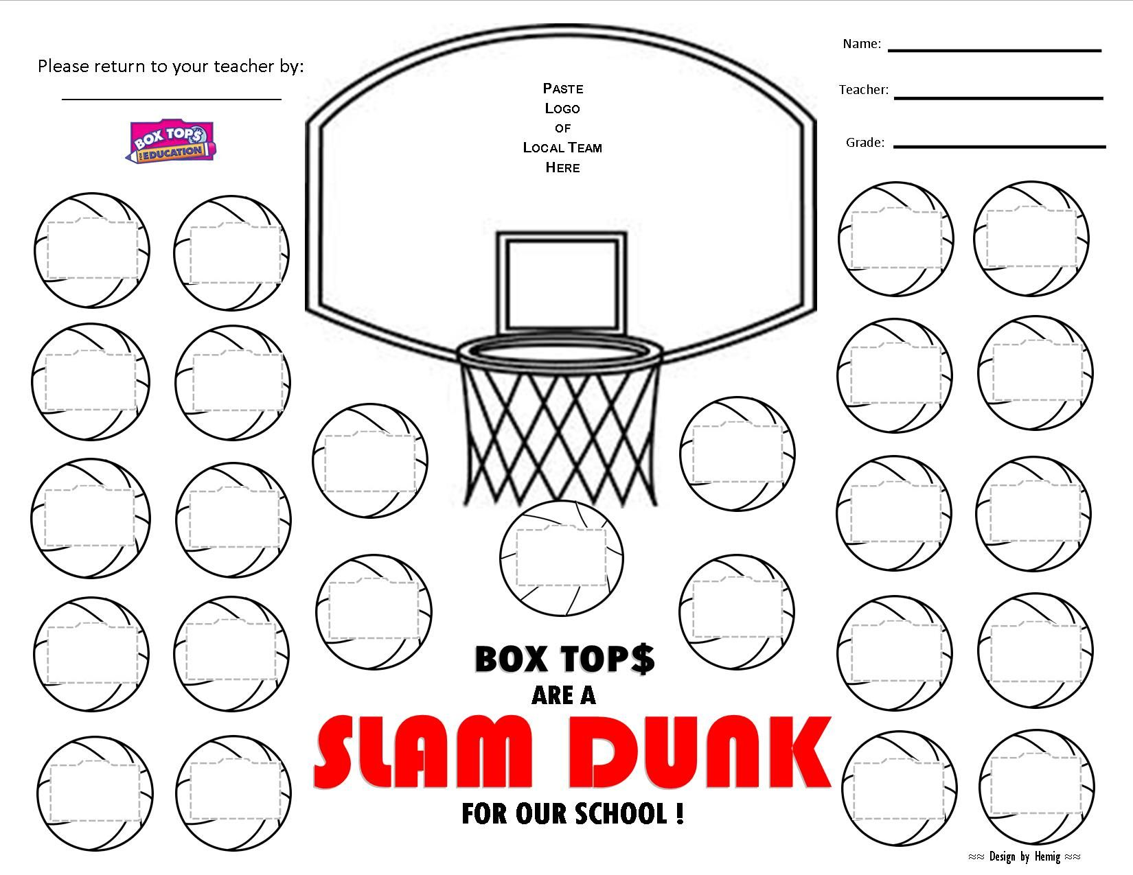 Box Tops Collection Sheet Box Tops Are A Slam Dunk For Our School Basketball Theme
