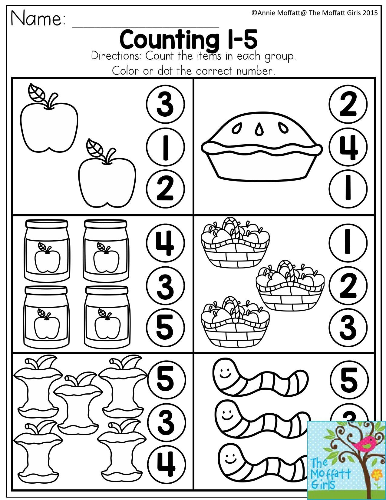 Counting 1 5 Count The Items In Each Group And Dot Or