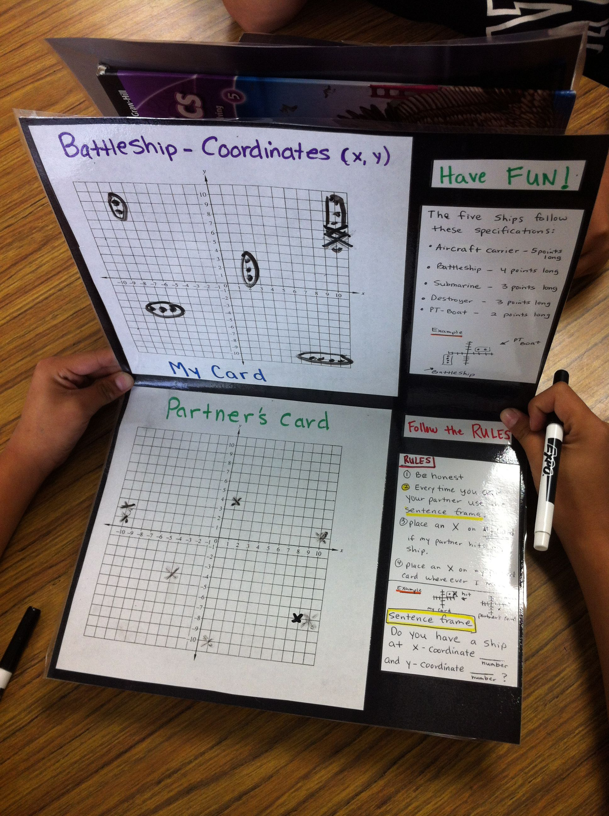 Battleship Coordinate Planes And Ordered Pairs Students
