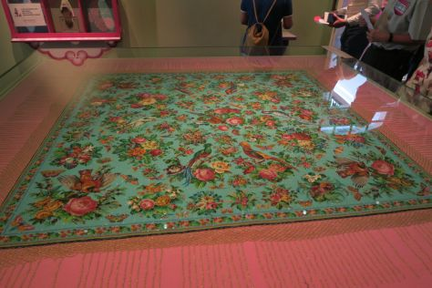 A Peranakan beaded tablecloth at the Peranakan Museum of Singapore. Tens of thousands of minuscule glass beads were woven together to make this exquisite piece of artwork.