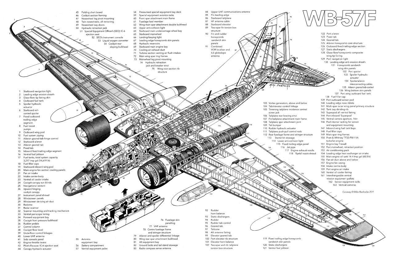 Details About Martin Wb 57f Aircraft Cutaway Poster Print