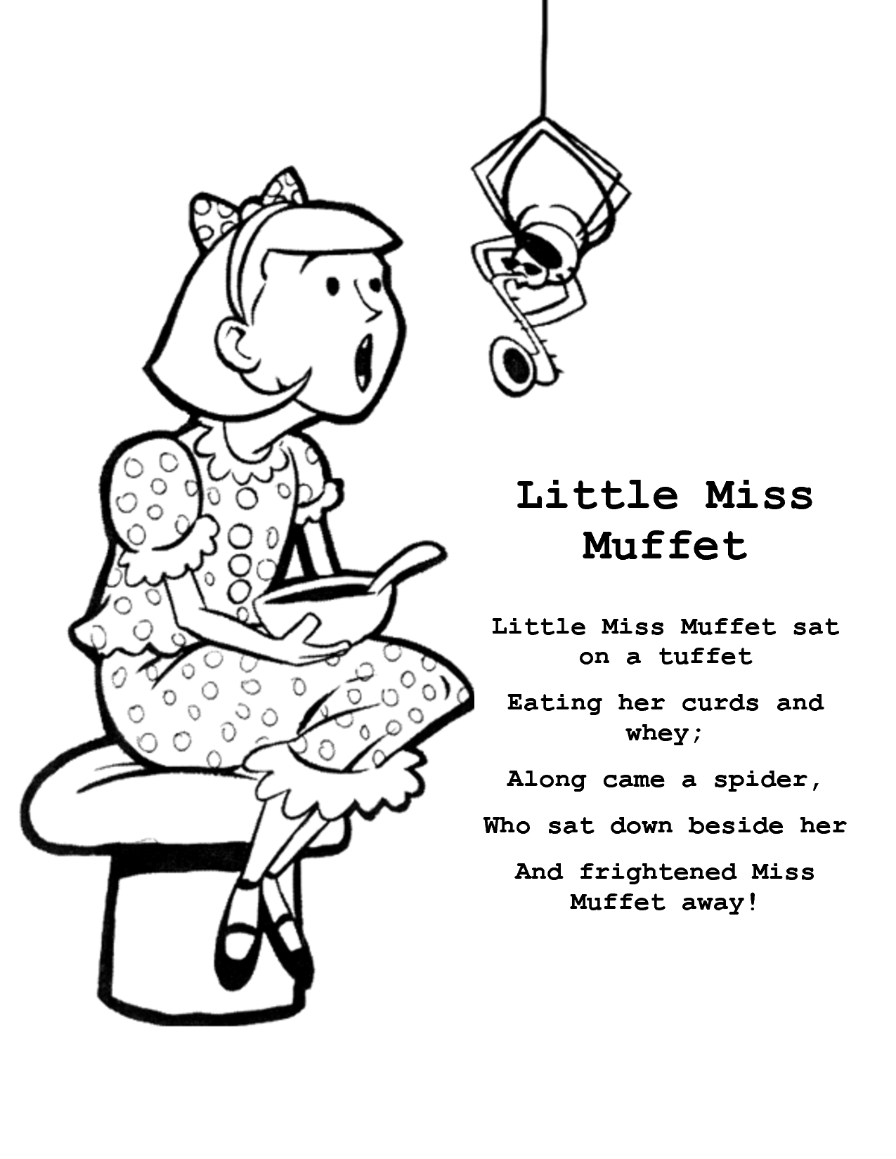 Little Miss Muffet Sat On A Tuffet Eating Her Curds And