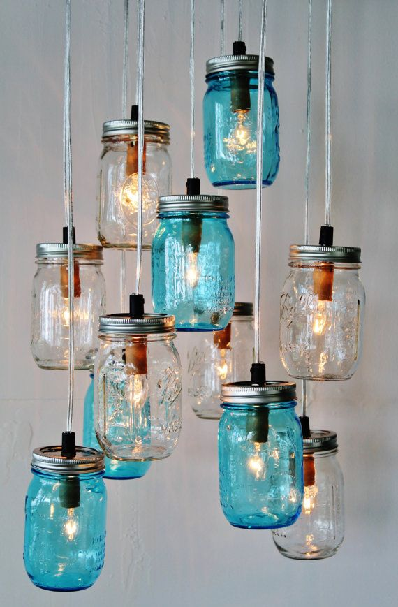 Mason Jar Cer Chandelier Upcycled Hanging Lighting Fixture Blue Clear Jars