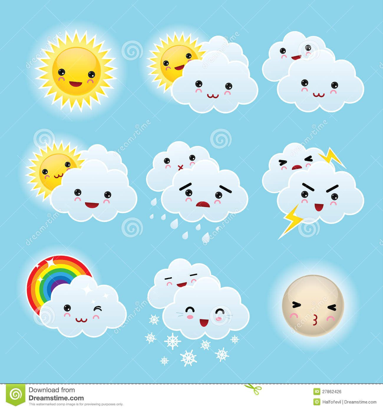 Nine Kid Kawaii Weather Icons