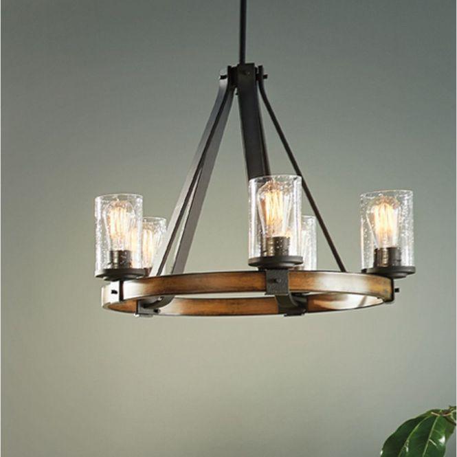Kichler Lighting Barrington 3 Light Distressed Black And Wood Chandelier At Lowes