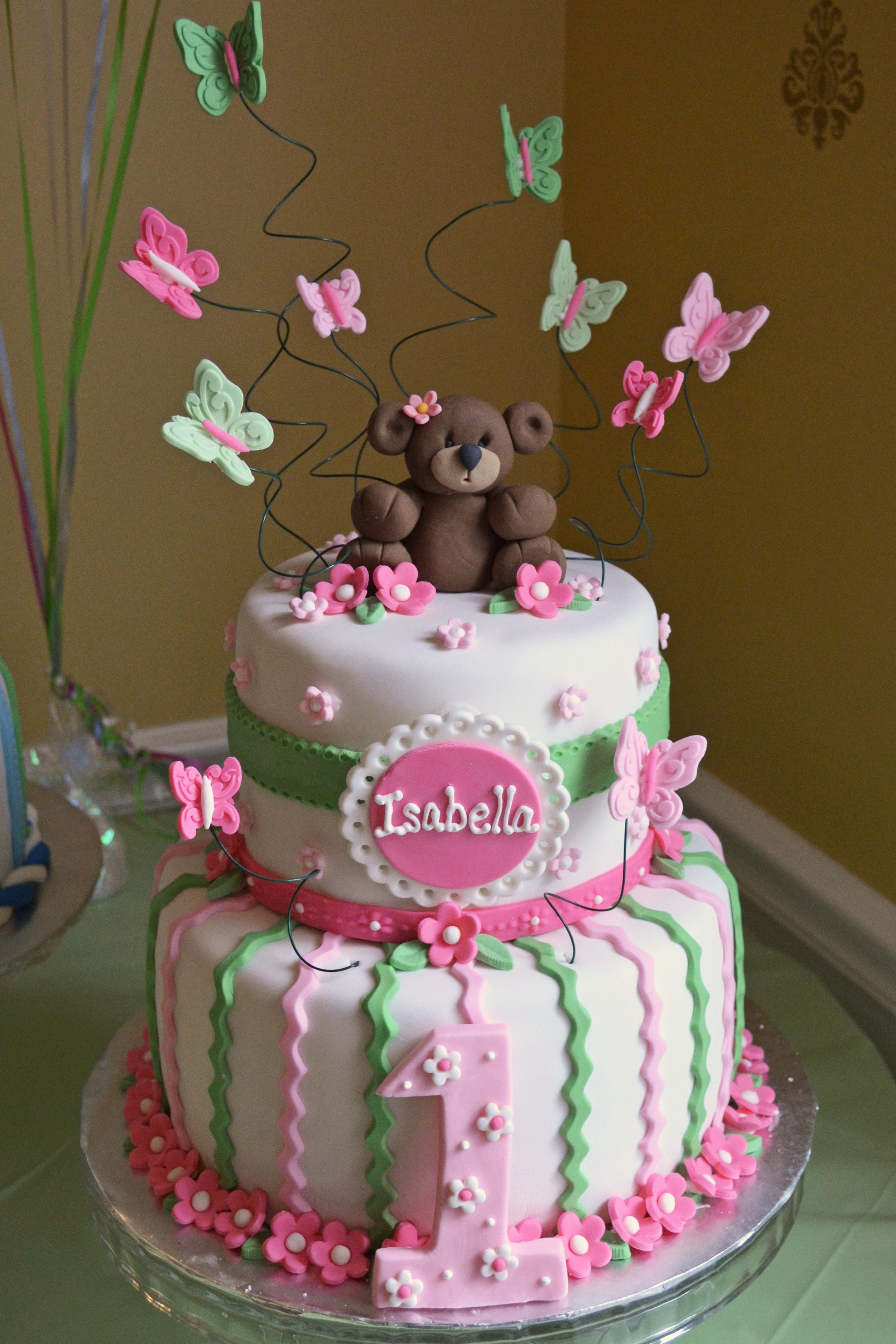 Girl 1st birthday cake; pink and green; bears and