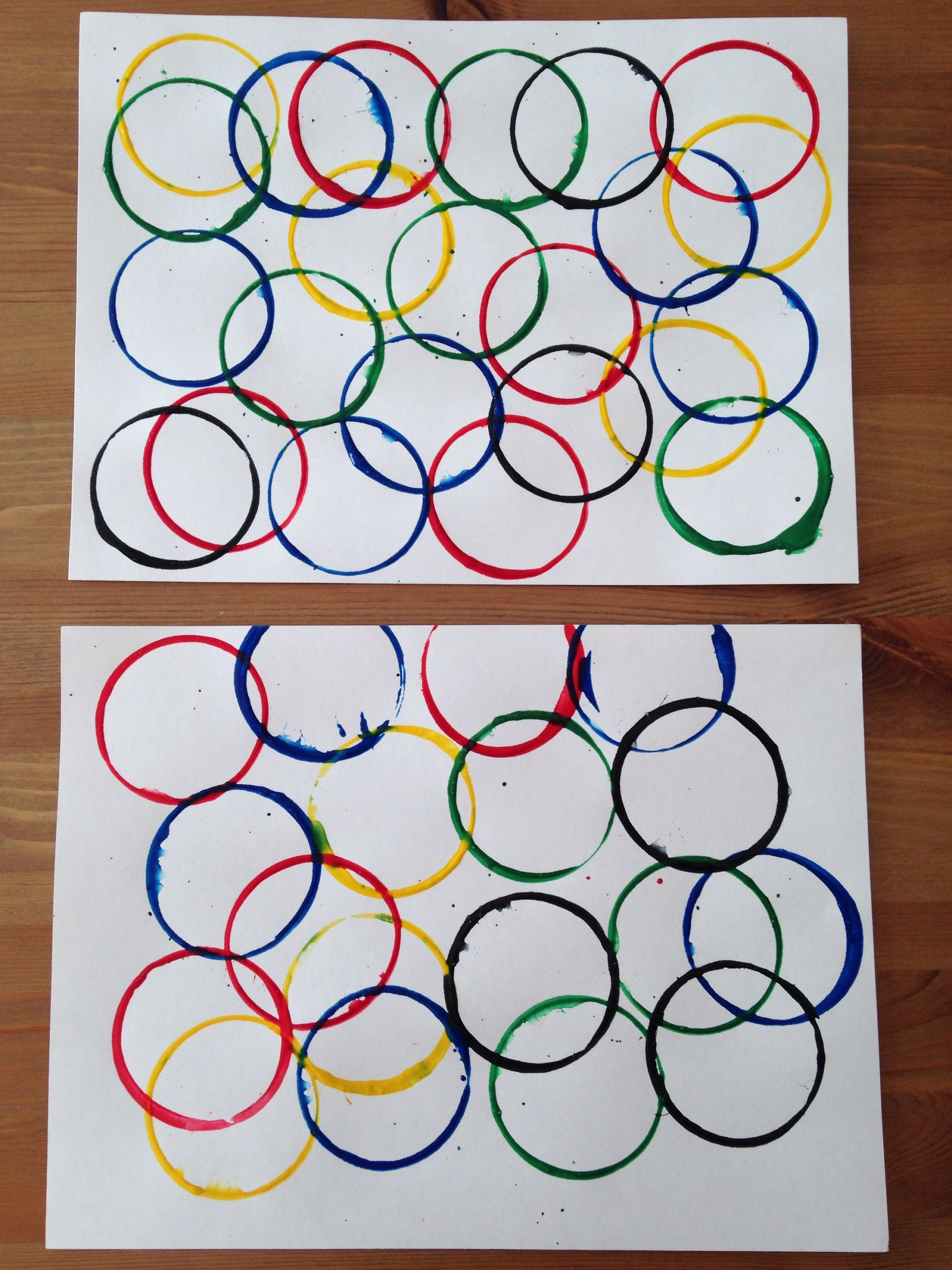 Olympic Rings Painting Using Dixie Cups