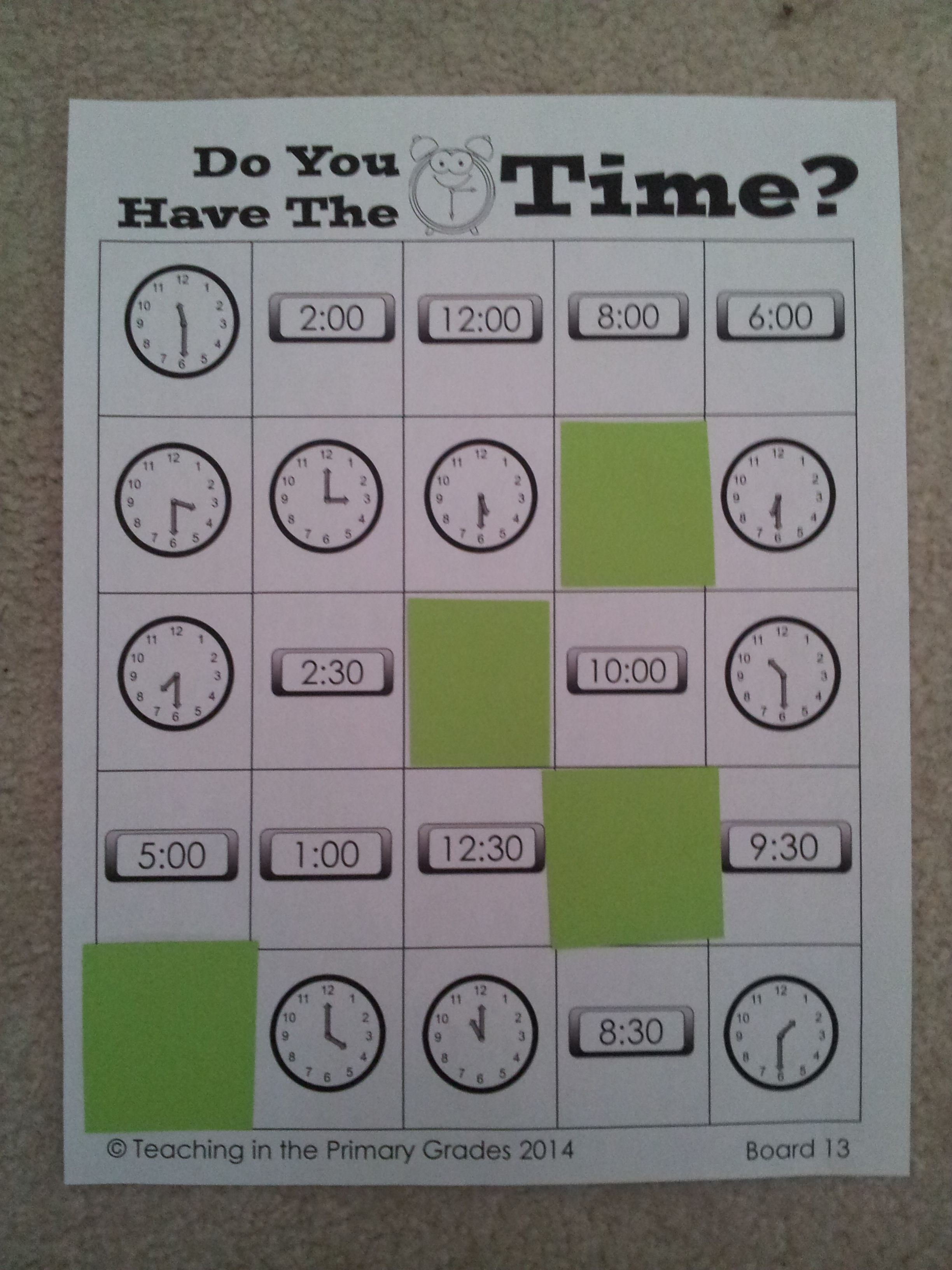 Telling Time Bingo Do You Have The Time