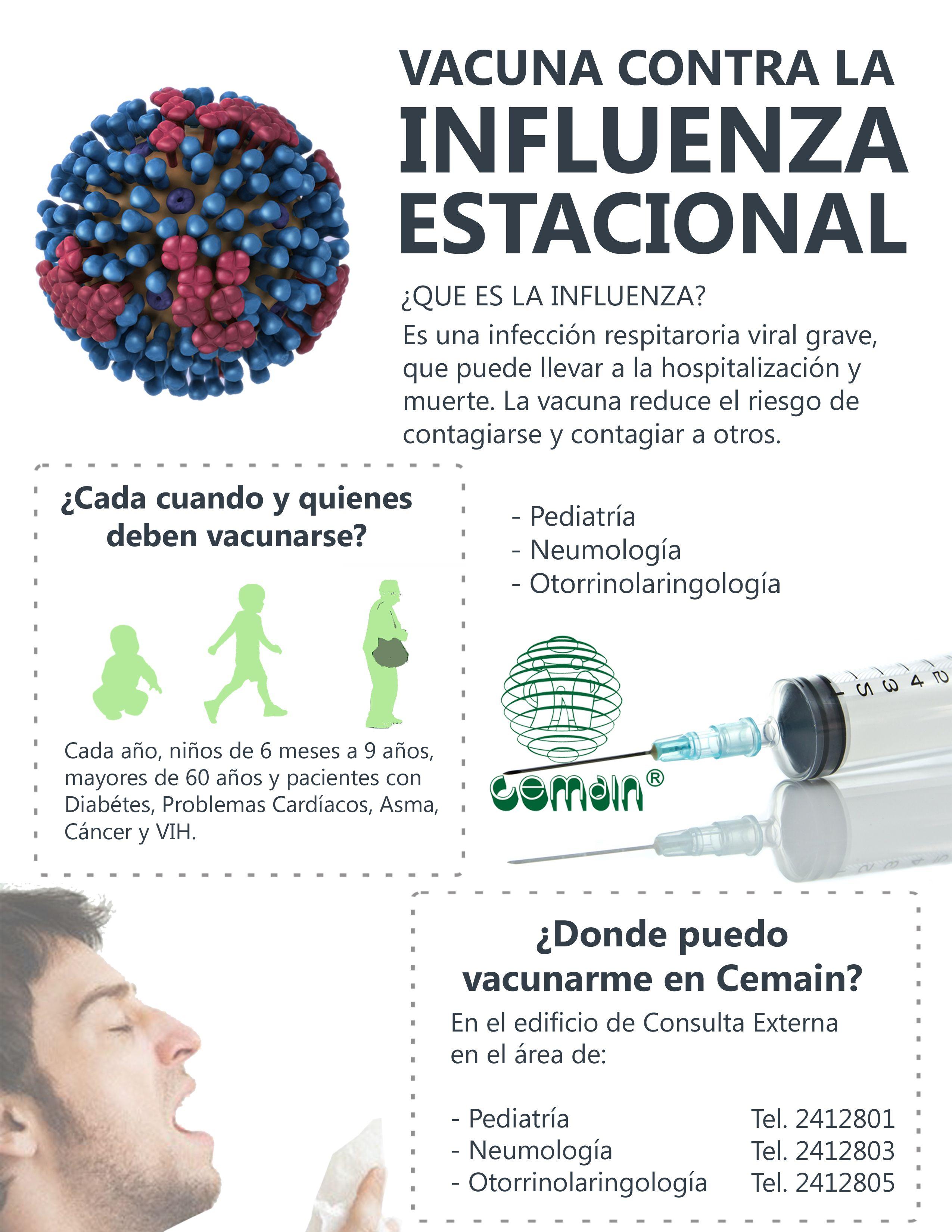Vacunate contra la influenza estacional. Vacunas