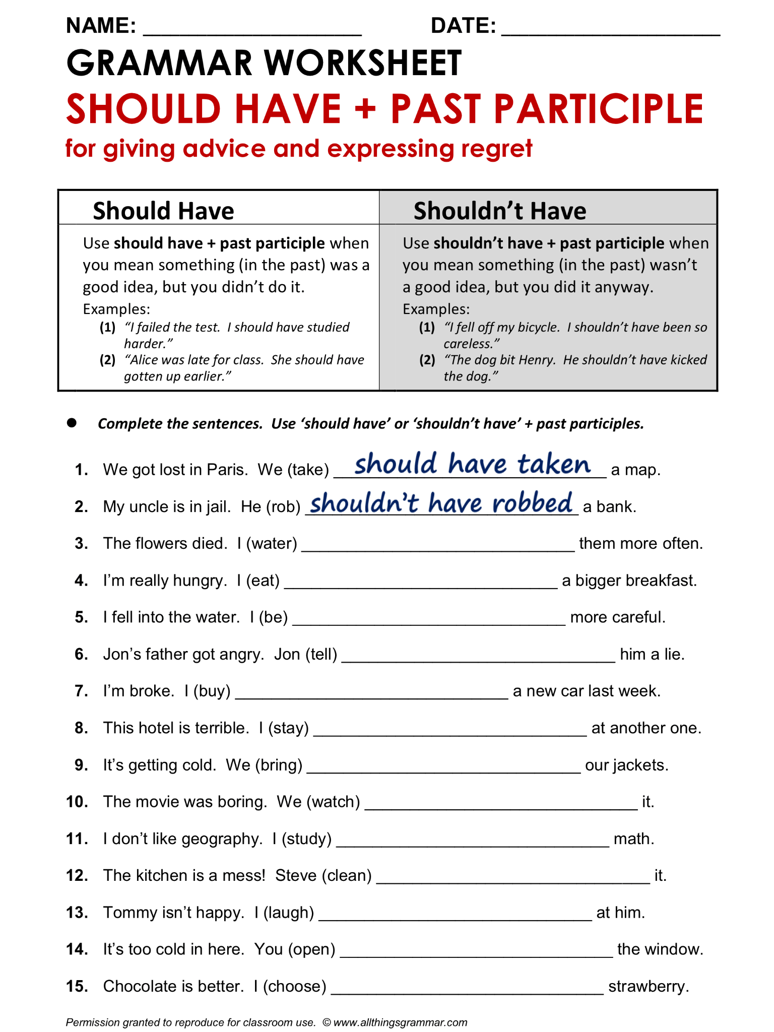 English Grammar Worksheet Should Have Past Participle 1