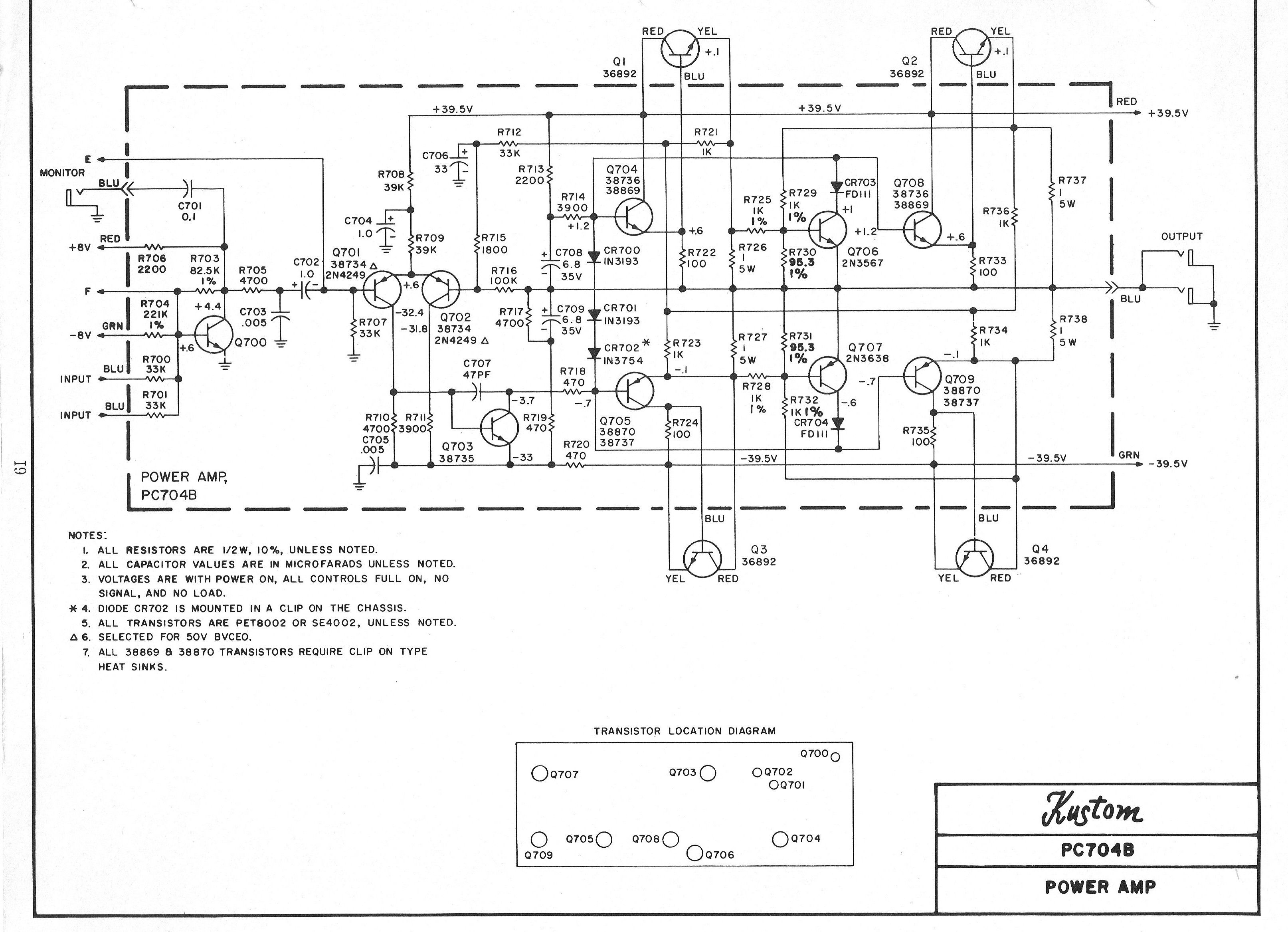 Kustom Bass Amp Schematic