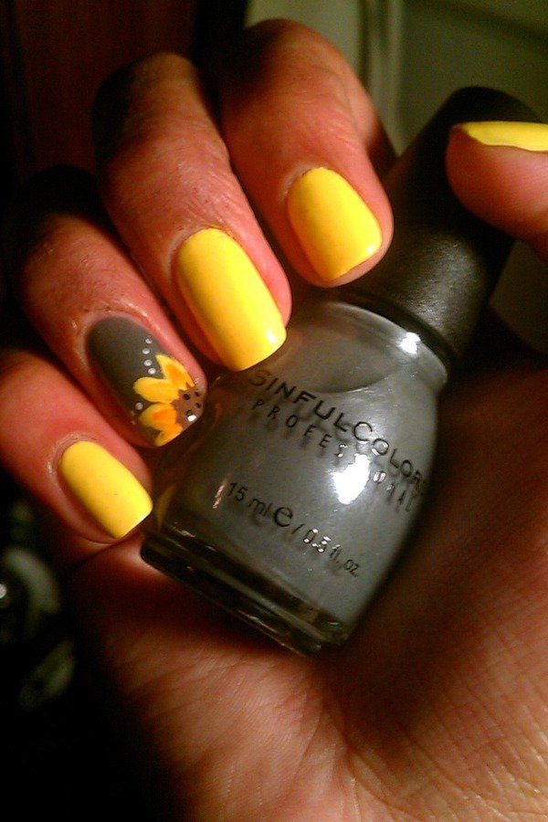 Sunflower Yellow Nail Polish Design Gardening Flower and Vegetables