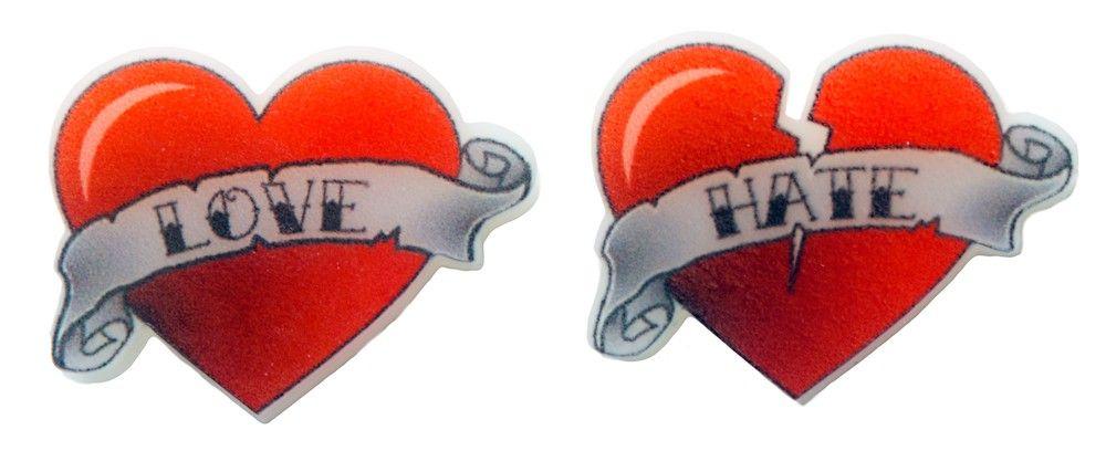 LOVE AND HATE HEART STUD EARRINGS Casual Look Pinterest