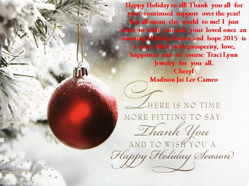 Happy Holiday to all! Thank you all for your continued