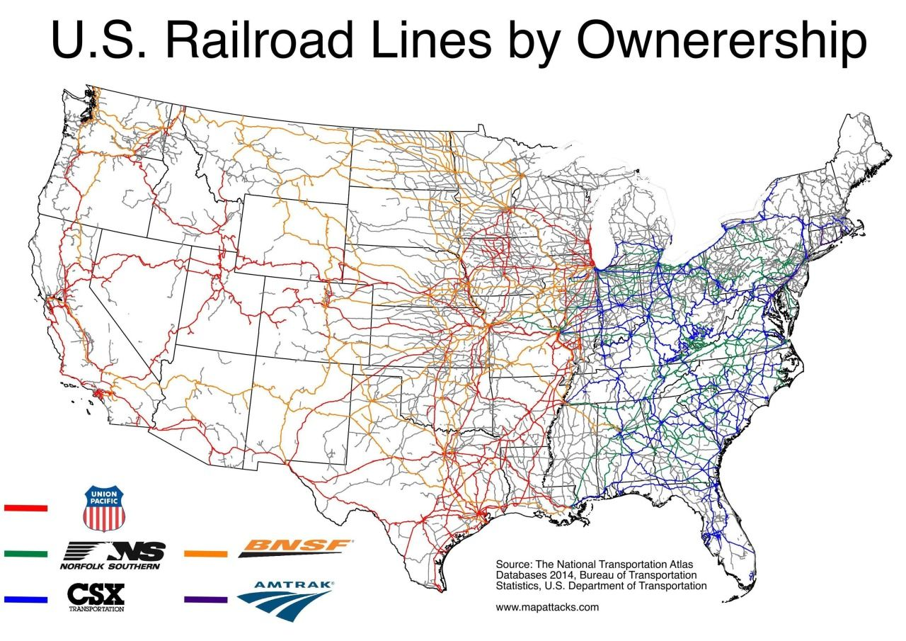 U S Rail Lines By Ownership