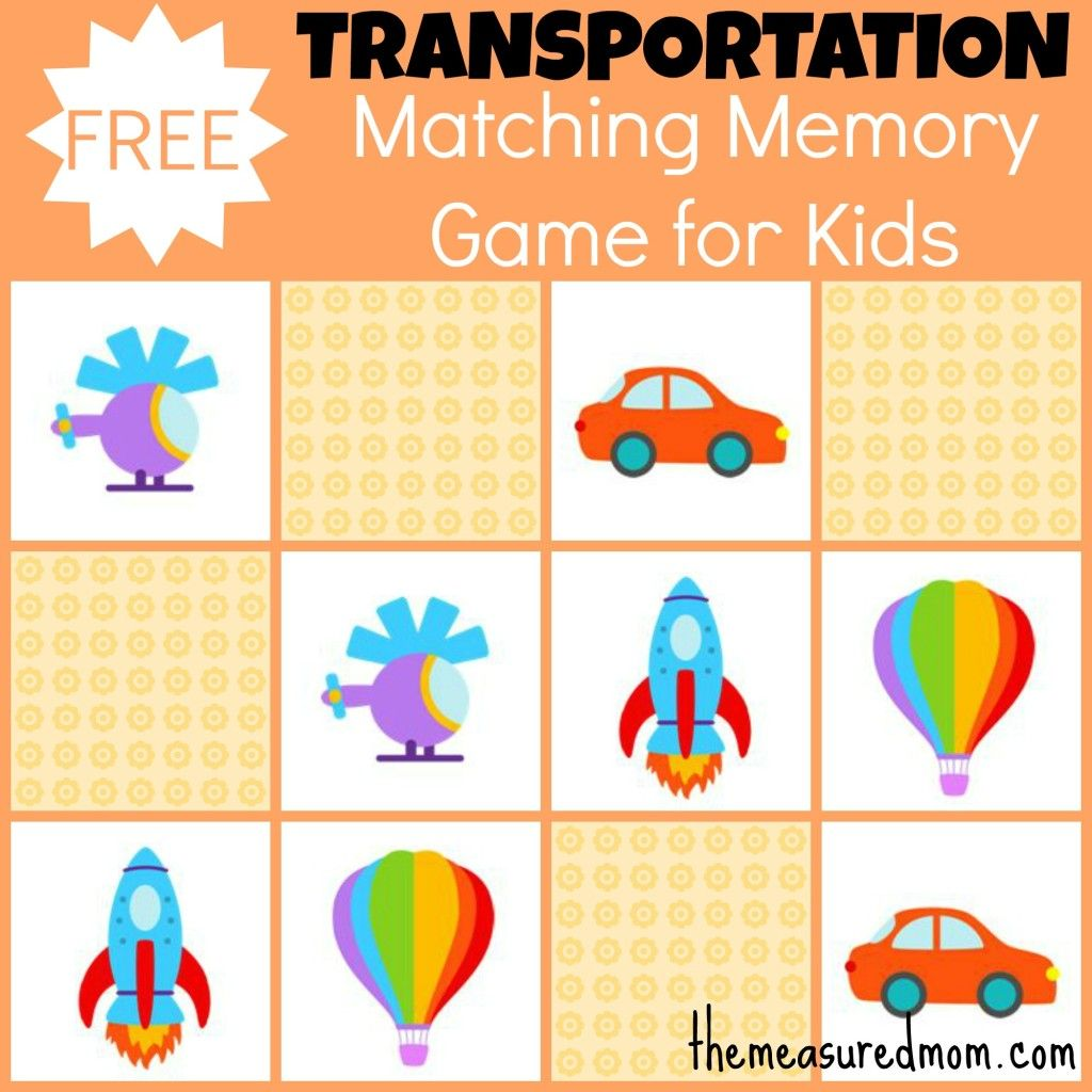Free Matching Memory Game For Kids Transportation
