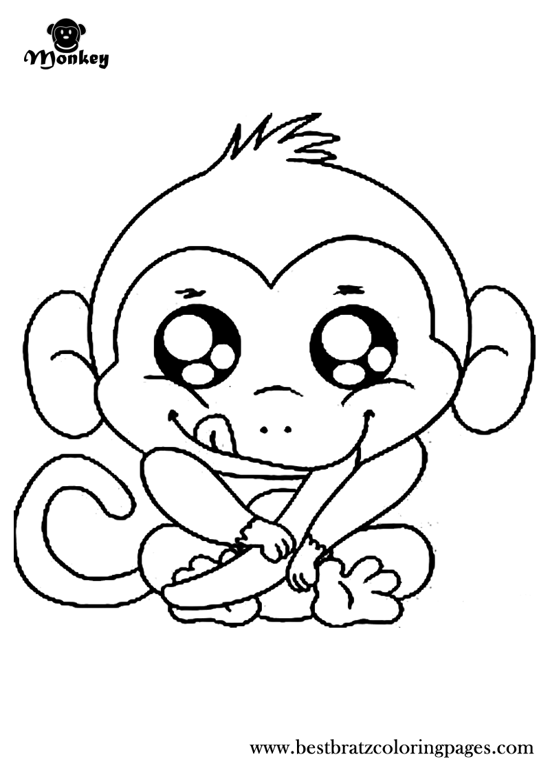 free 5 cute baby monkeys coloring pages