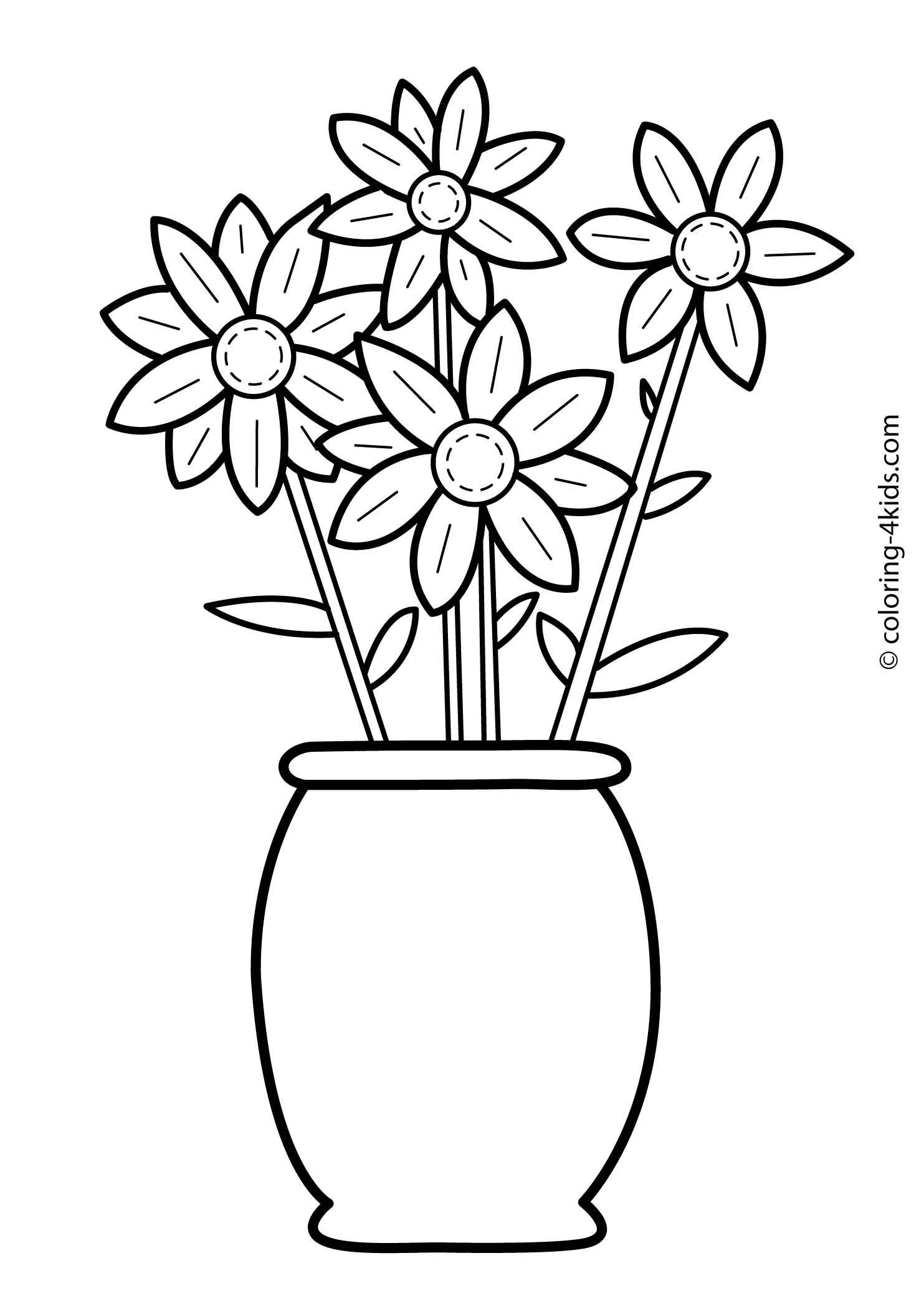 Flowers Coloring Pages For Kids Printable 6