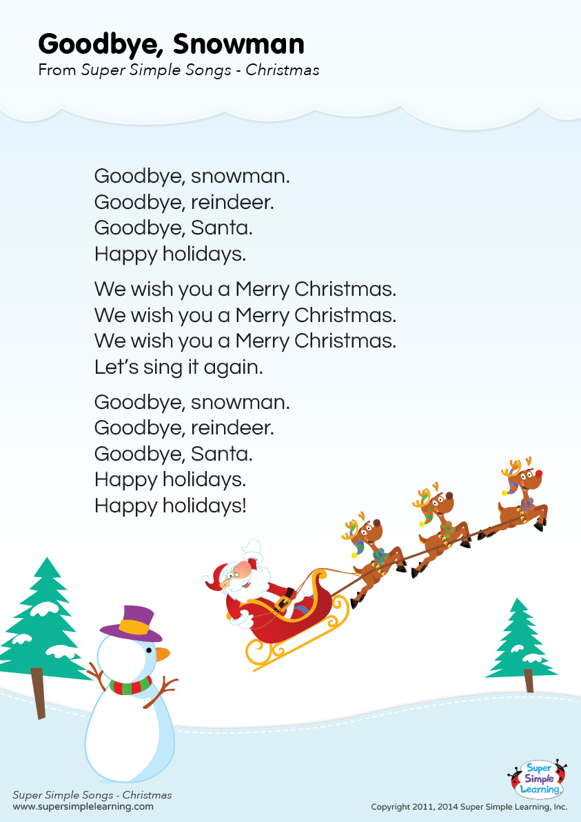 "Lyrics poster for ""Goodbye, Snowman"" Christmas song from"