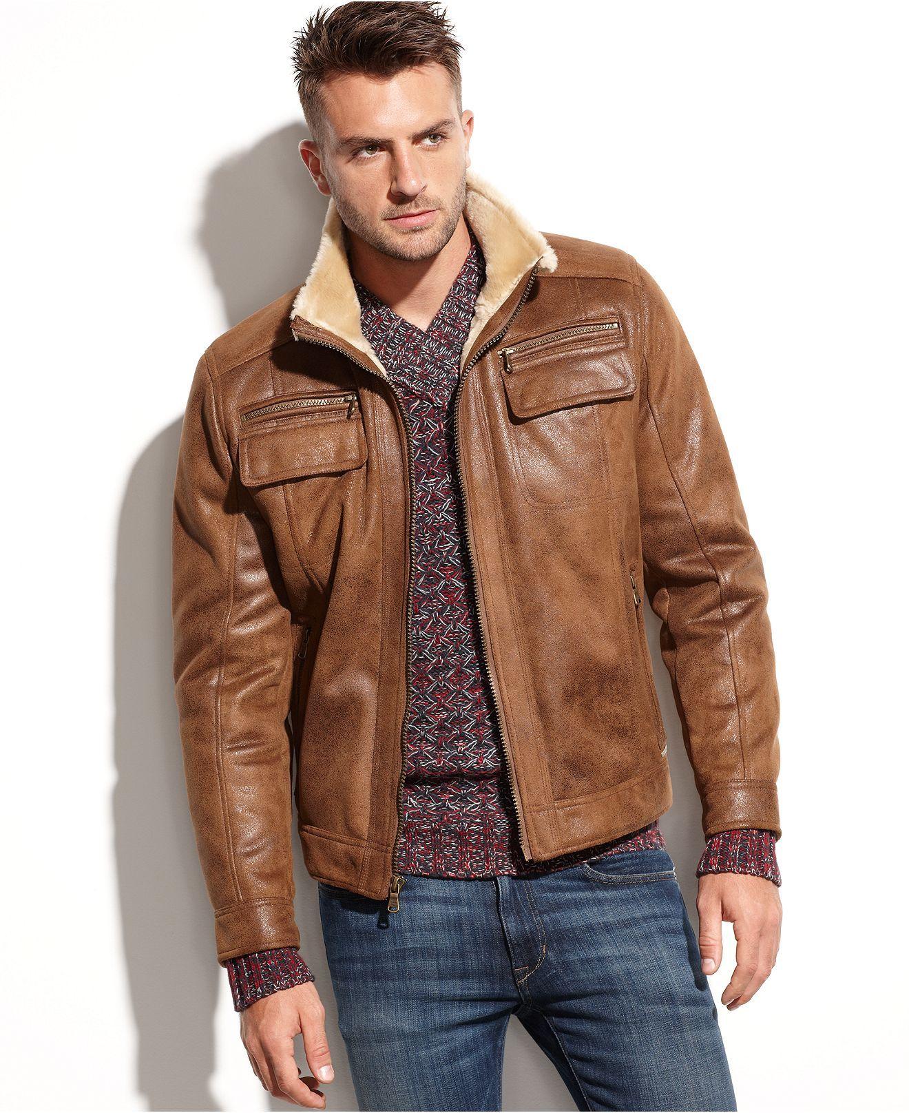 Calvin Klein Jacket, Faux ShearlingLined Faux Leather