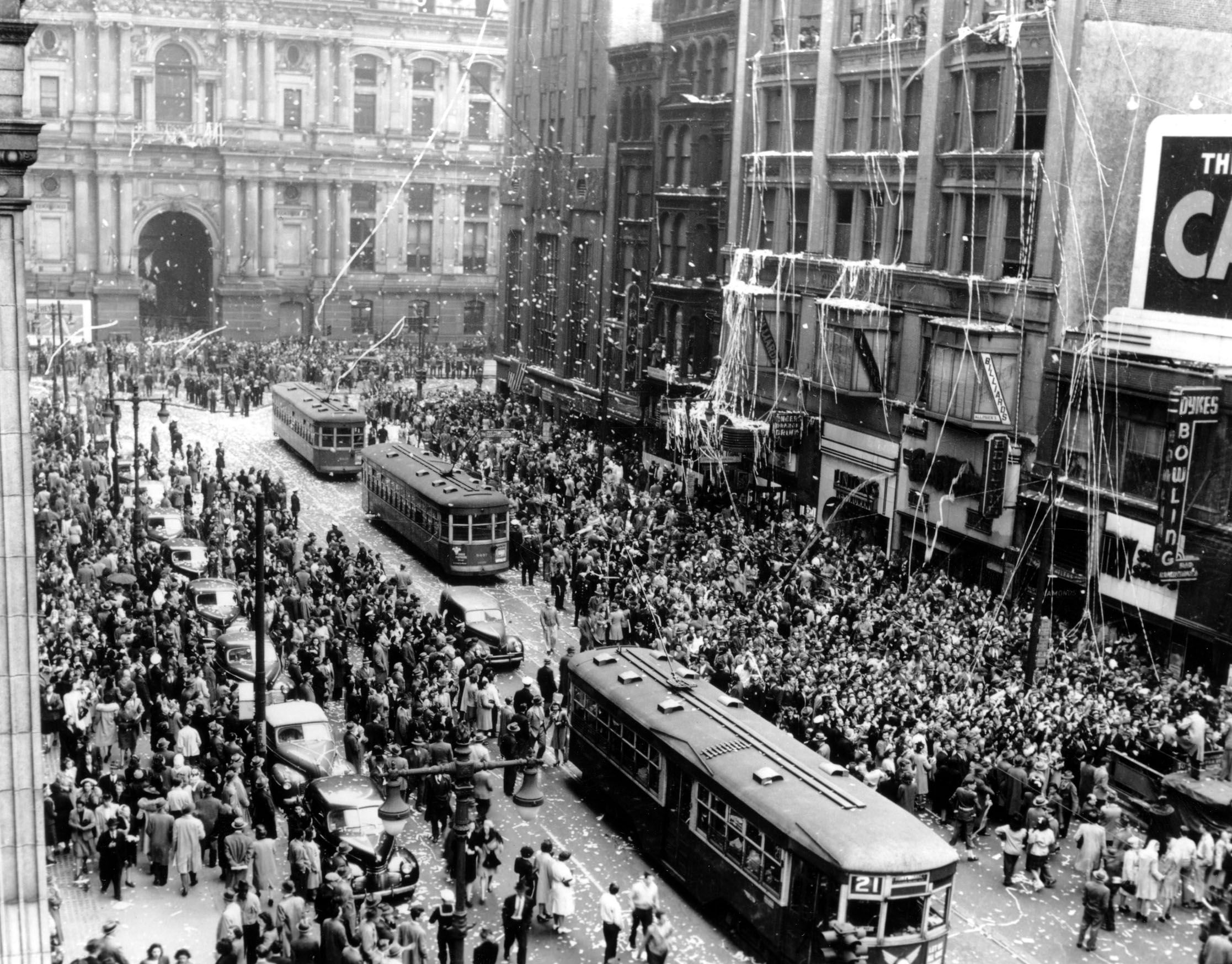 On May 8, 1945, Philadelphia held a ticker tape parade to