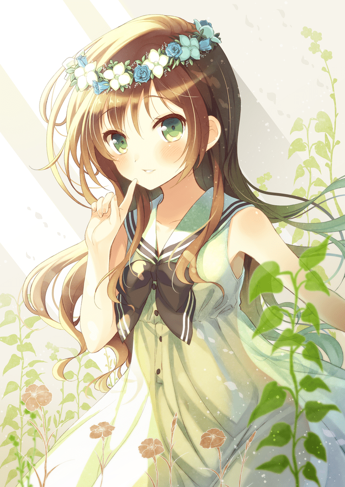 anime girl with flower wreath Cute anime and manga