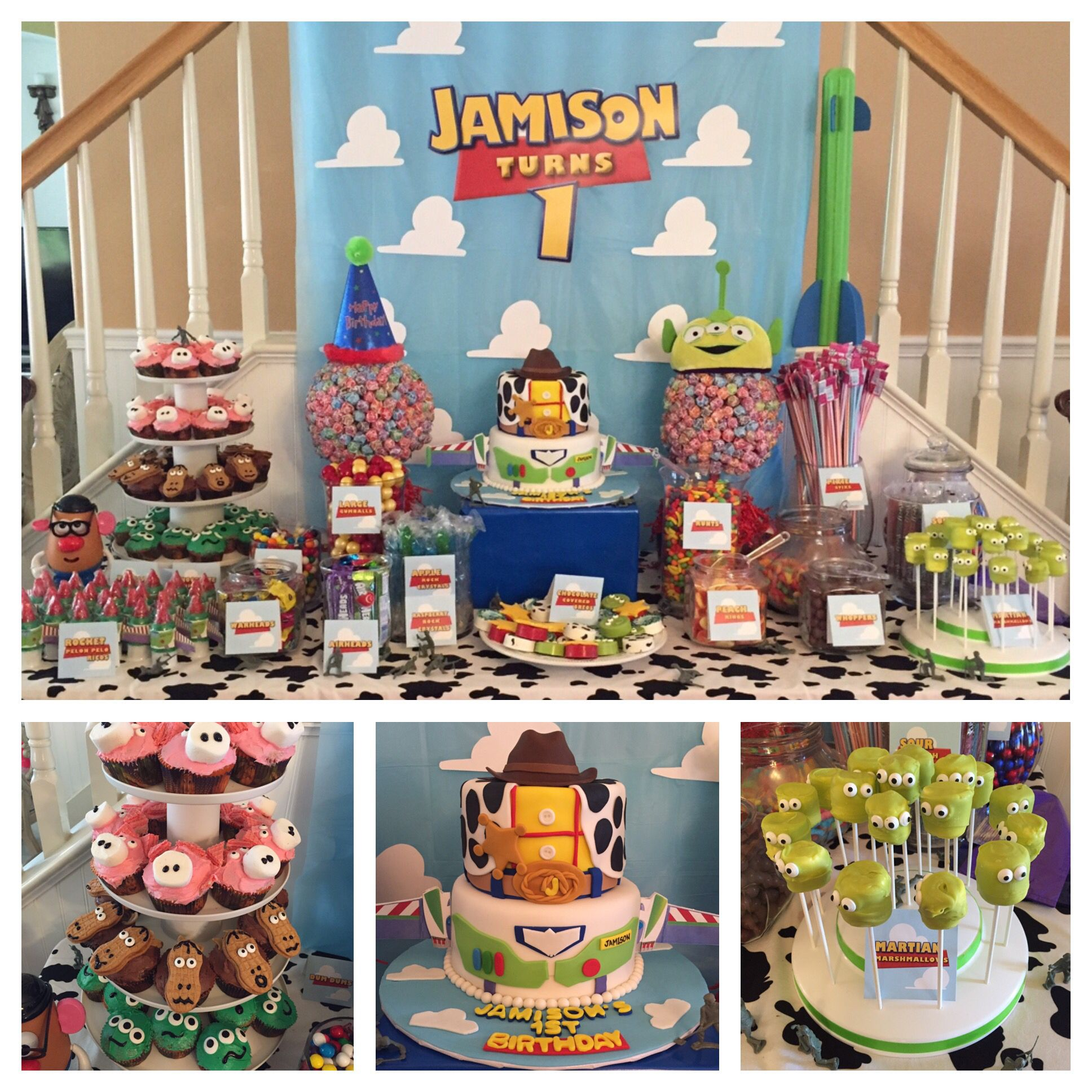 Toy Story 1st birthday party dessert table Toy Story
