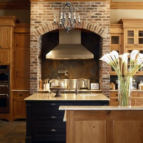 Brick Stove Hood And Beautiful Rustic Kitchen Designed By
