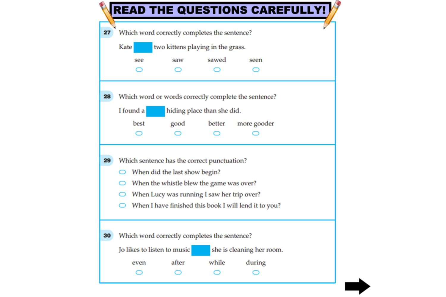 Year 3 Napaln Language Conventions Practice Questions For Iwb Interactivelessons
