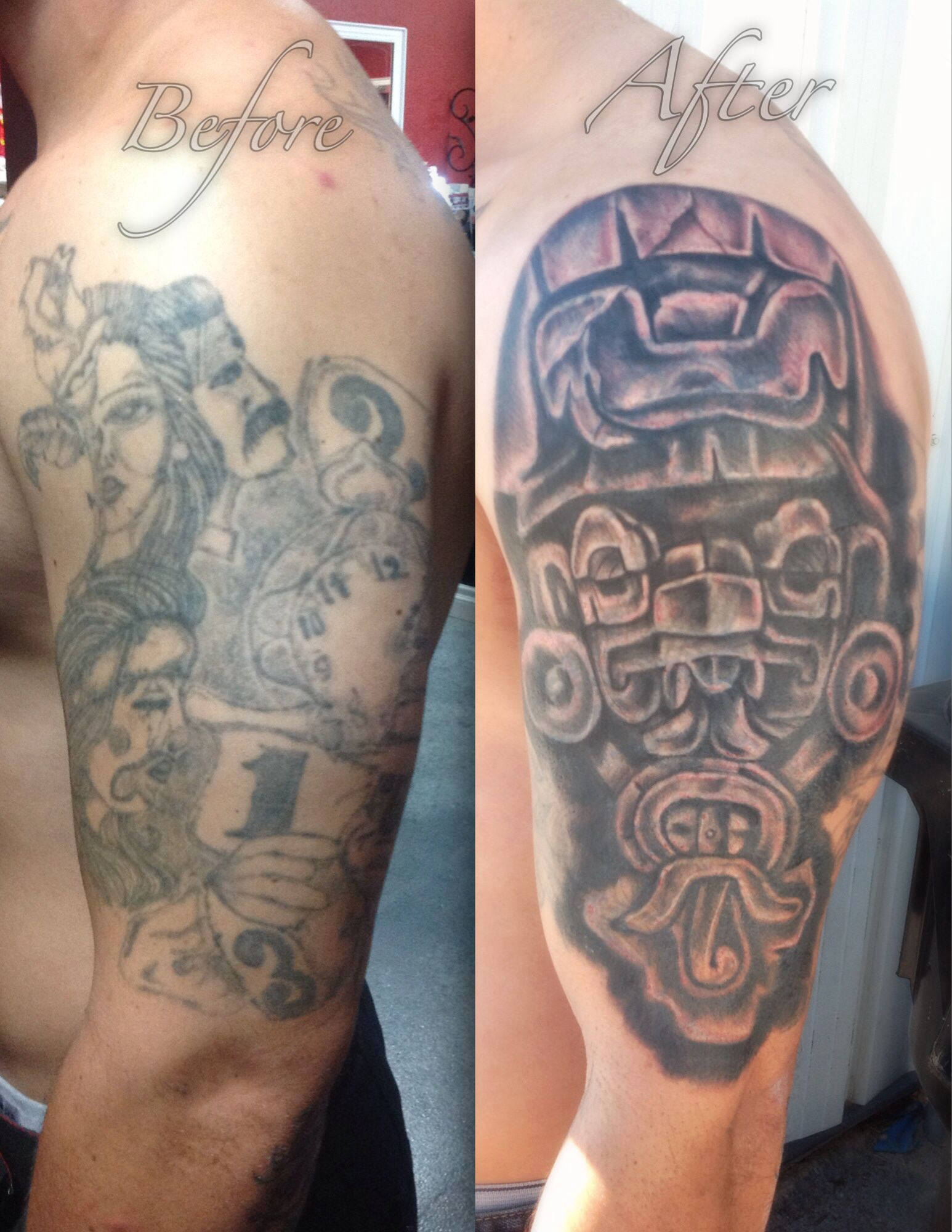 Before and after...cover up Las Vegas tattoo shop Ink