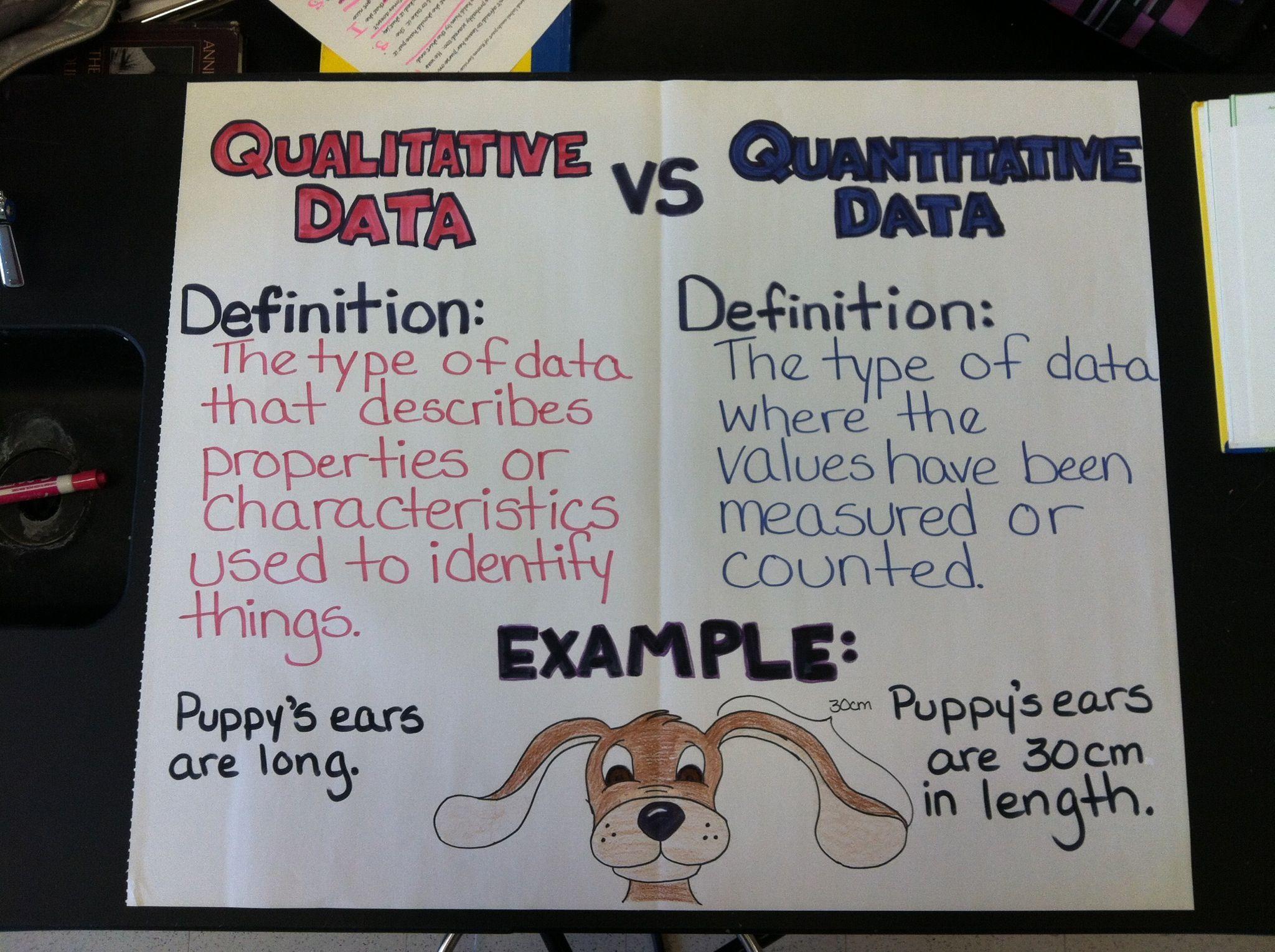 Qualitative vs. Quantitative Anchor Chart School Days