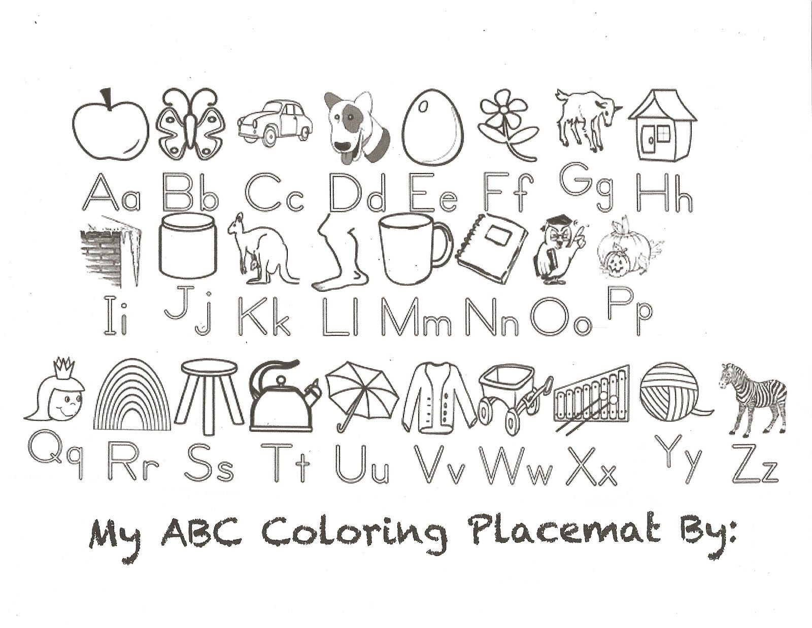 Abc Coloring Placemat