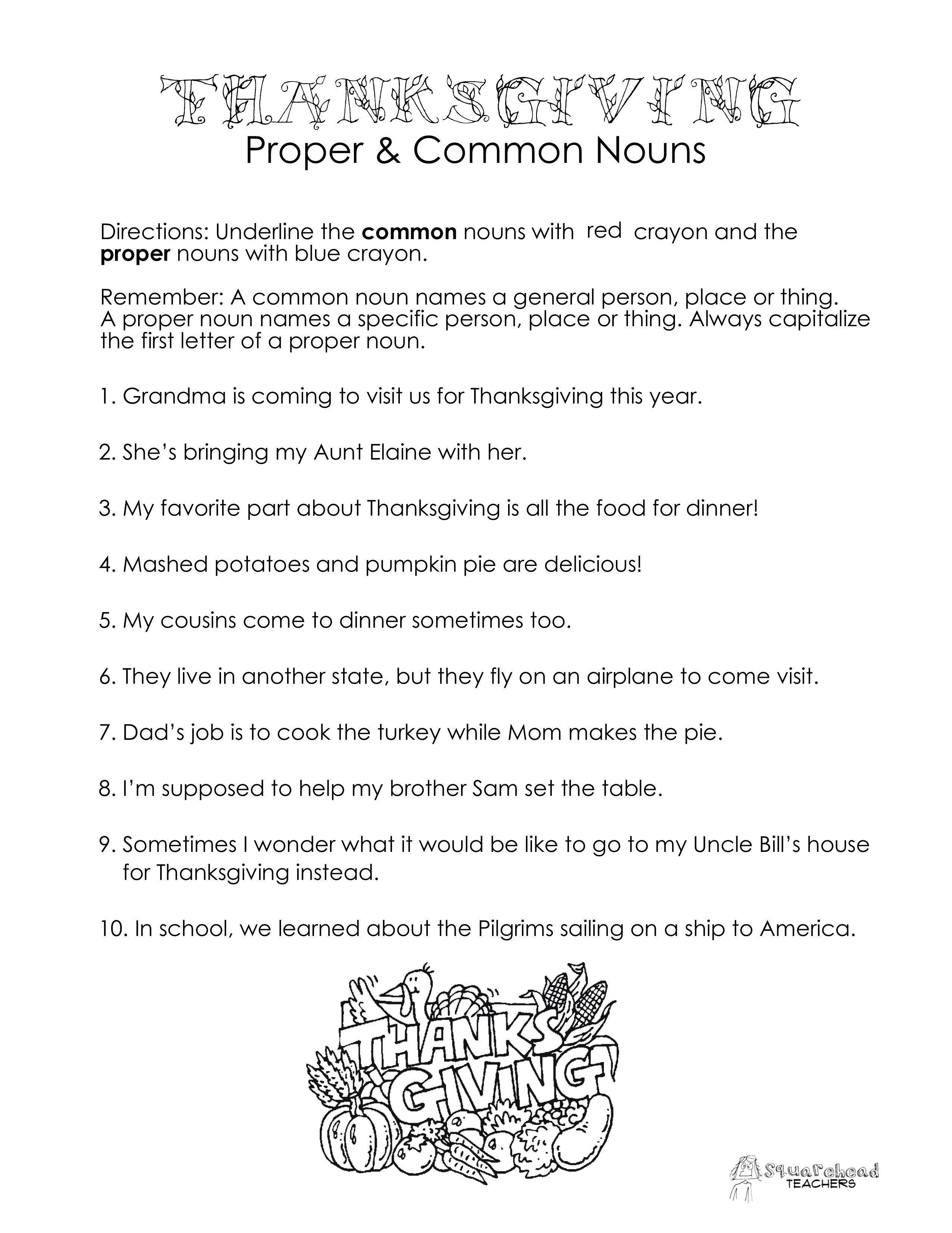 Thanksgiving Proper Amp Common Nouns