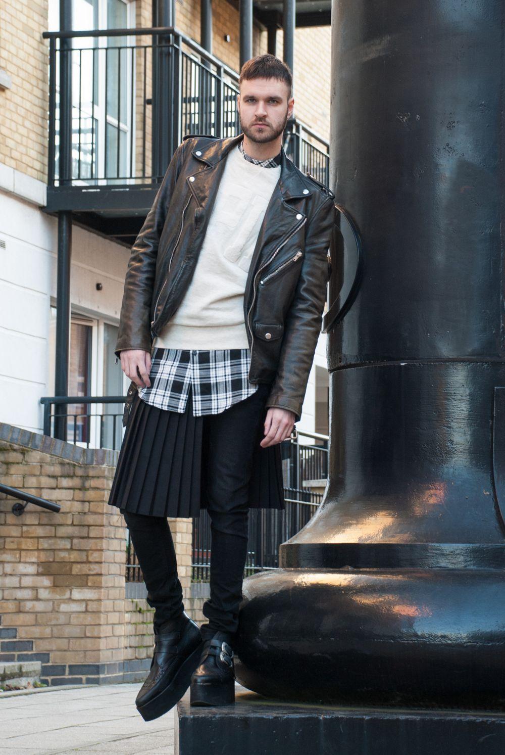 Men's Black Leather Biker Jacket, Beige Crewneck Sweater