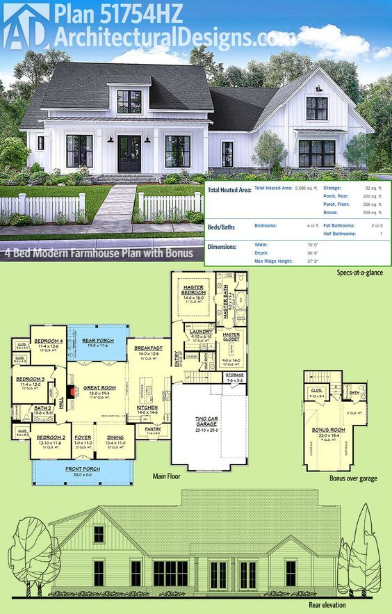 Plan 51754HZ Modern Farmhouse Plan with Bonus Room