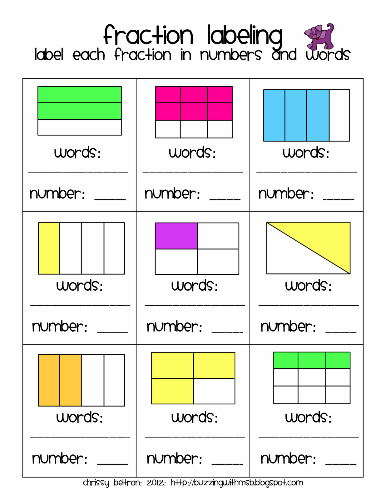 Label Fractions In Words And Numbers