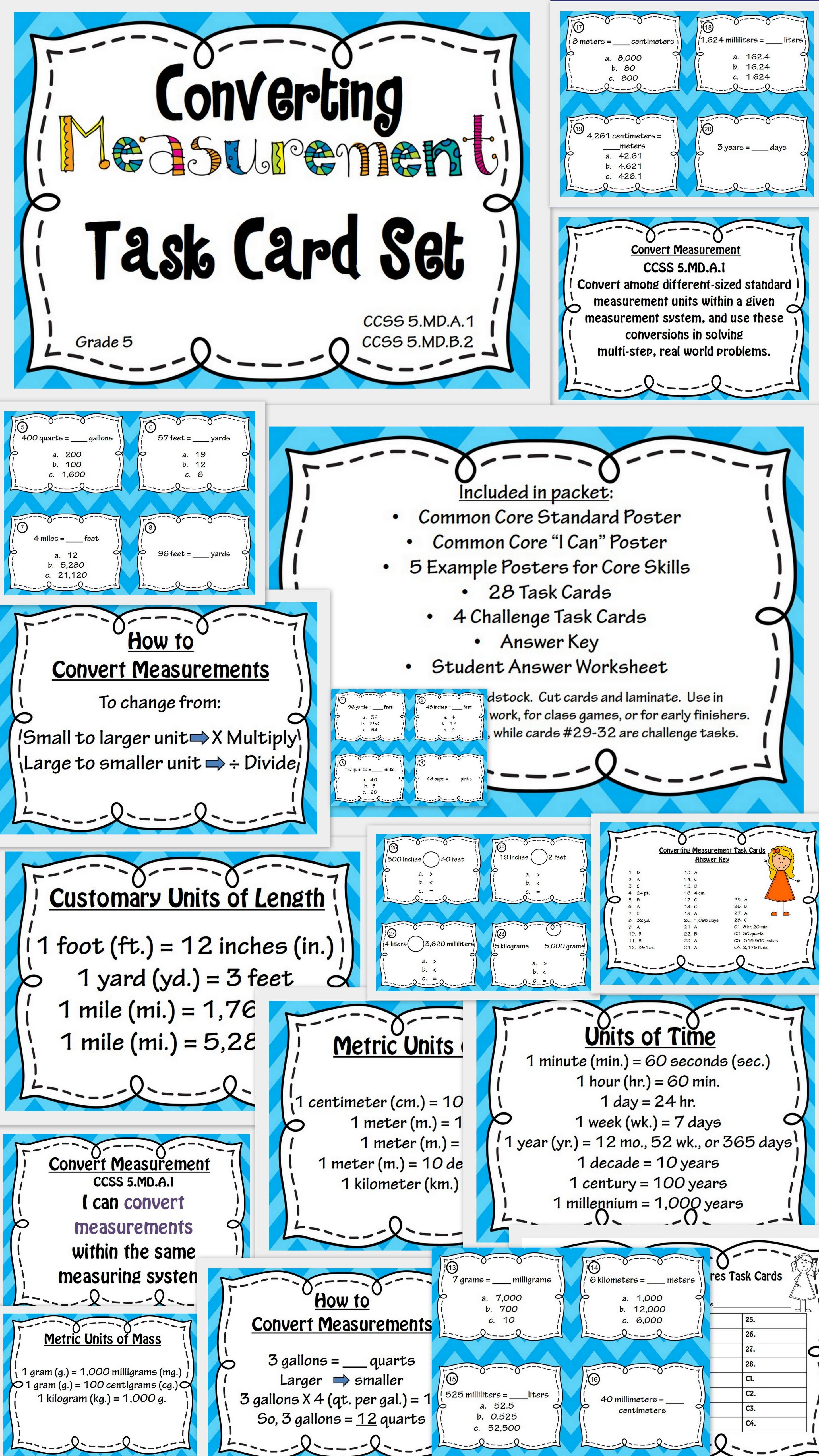Converting Measurement Task Cards And Poster Set Great