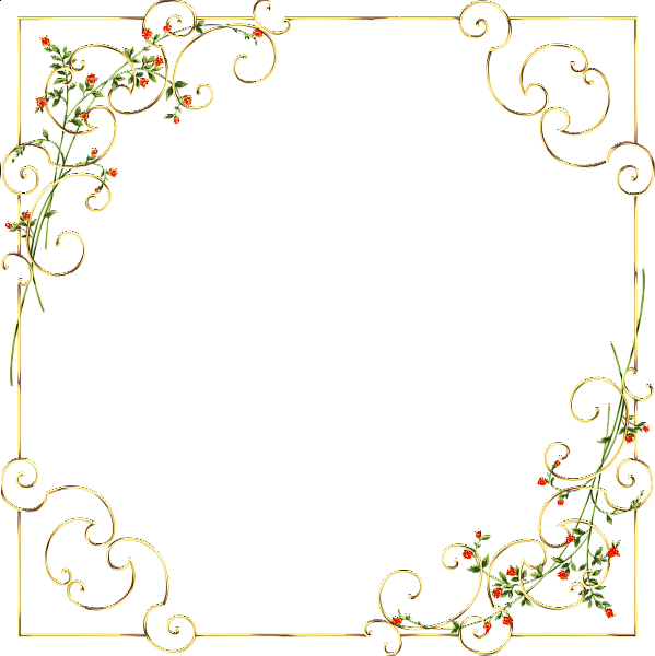 Gold Frame with Delicate Wild Flowers Printables FRAME