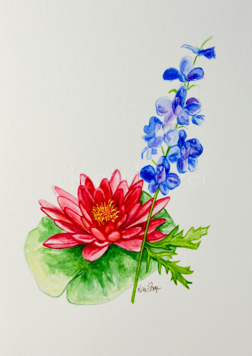 Water lily and Larkspur July birthday flower, original