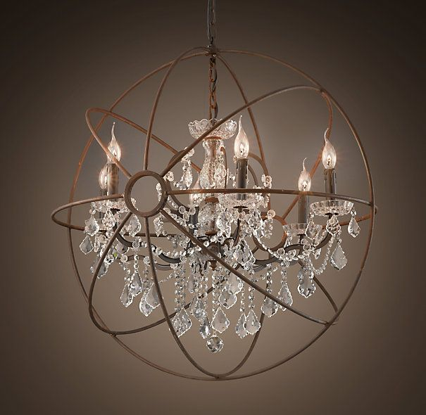 Foucault S Iron Orb Crystal Chandelier Rustic Medium Restoration Hardware