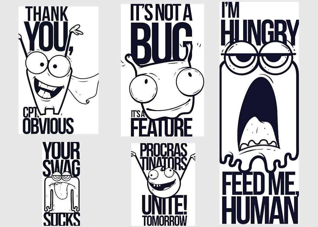 Cartoon tshirt print funny set vector FREE Vectors