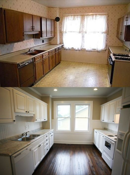 Paint Cabinets White And Install Dark Hardwood Floors For Kitchen