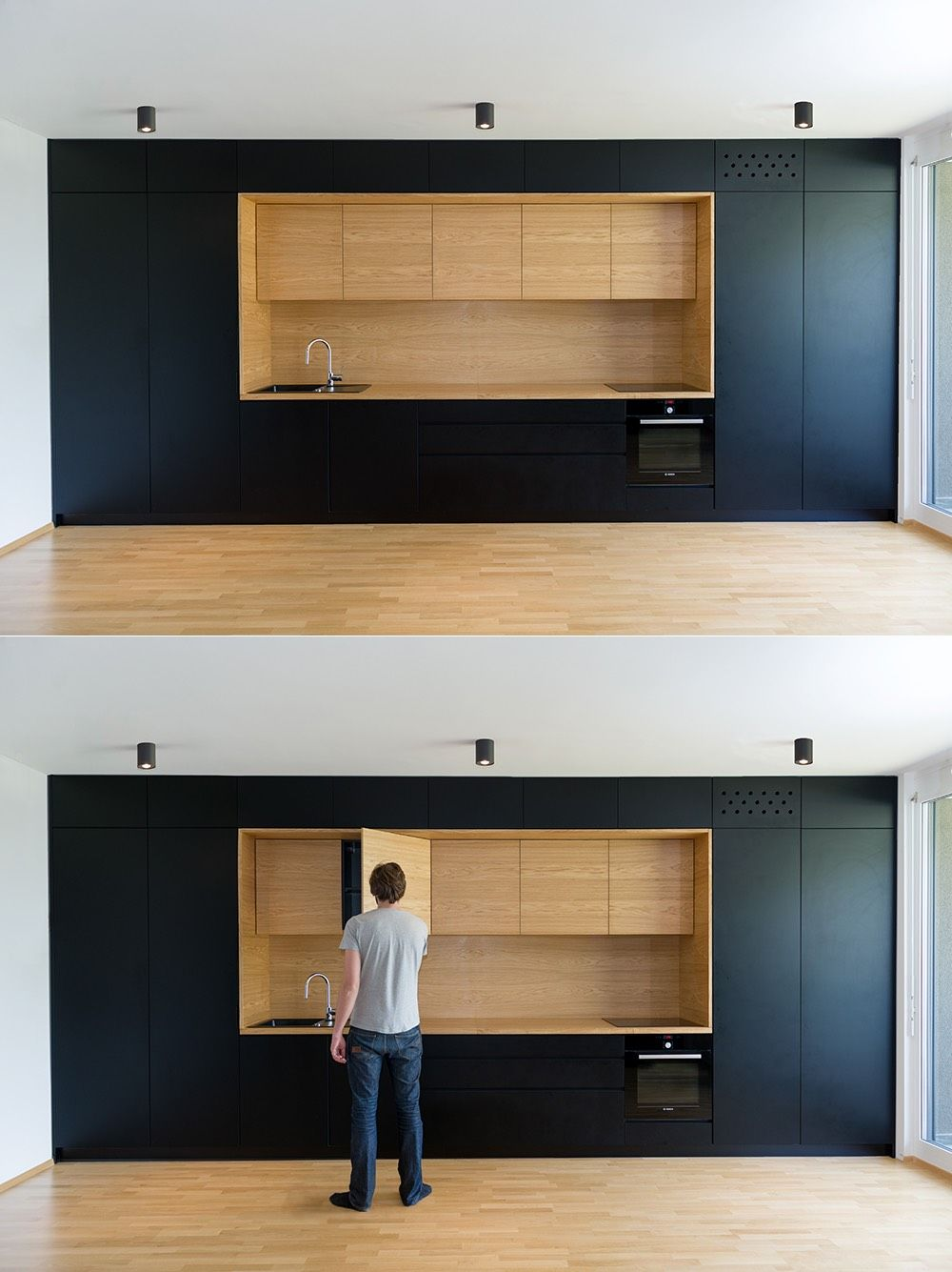 Black and wood as used here are entirely minimalist, with