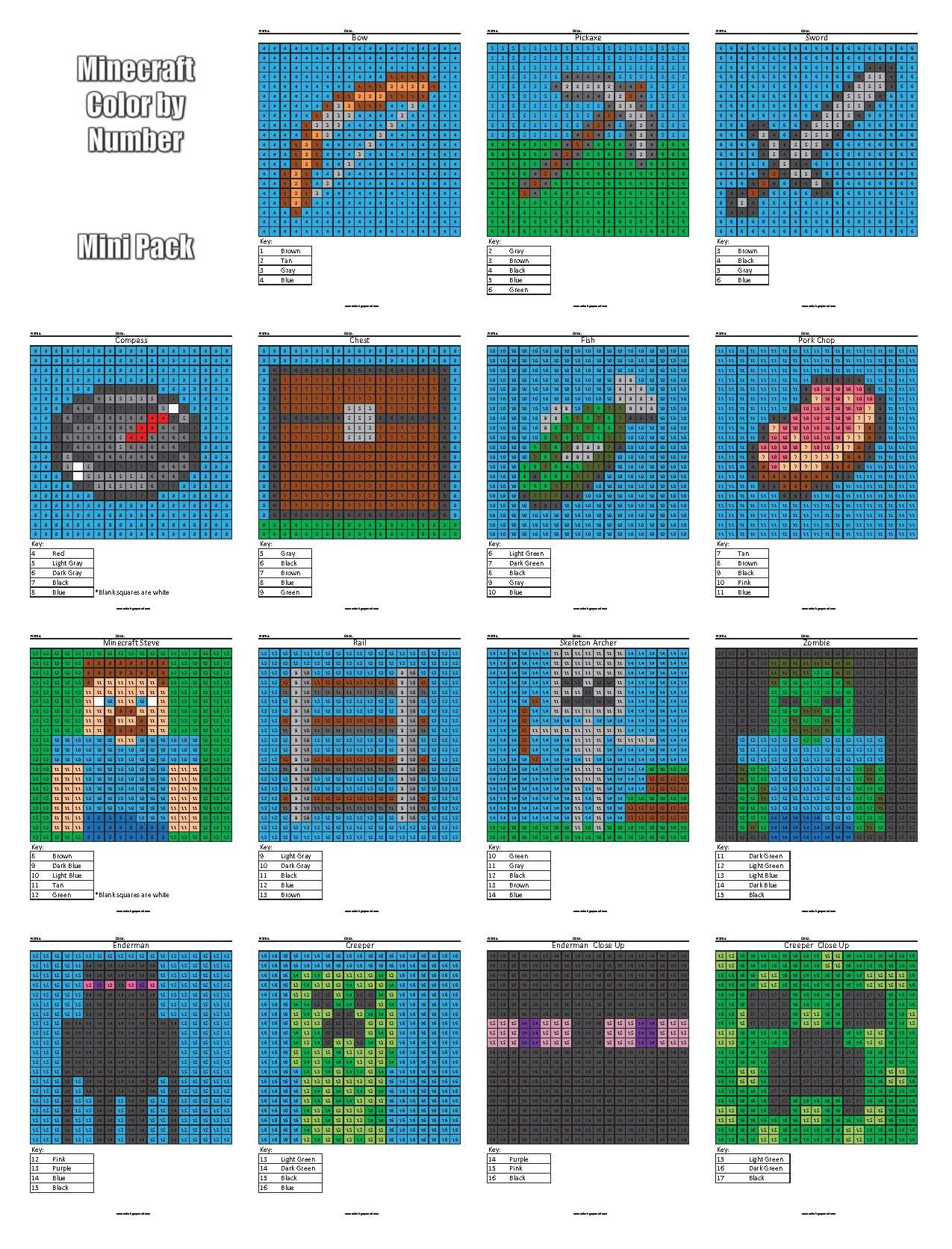 Minecraft Color By Number Cover 16