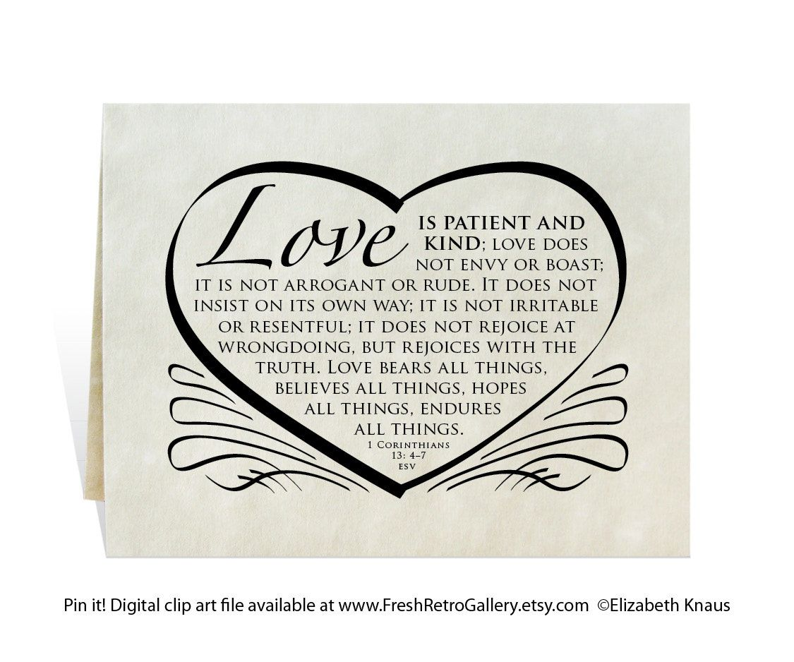 Wedding card, program, invitation, love is patient and