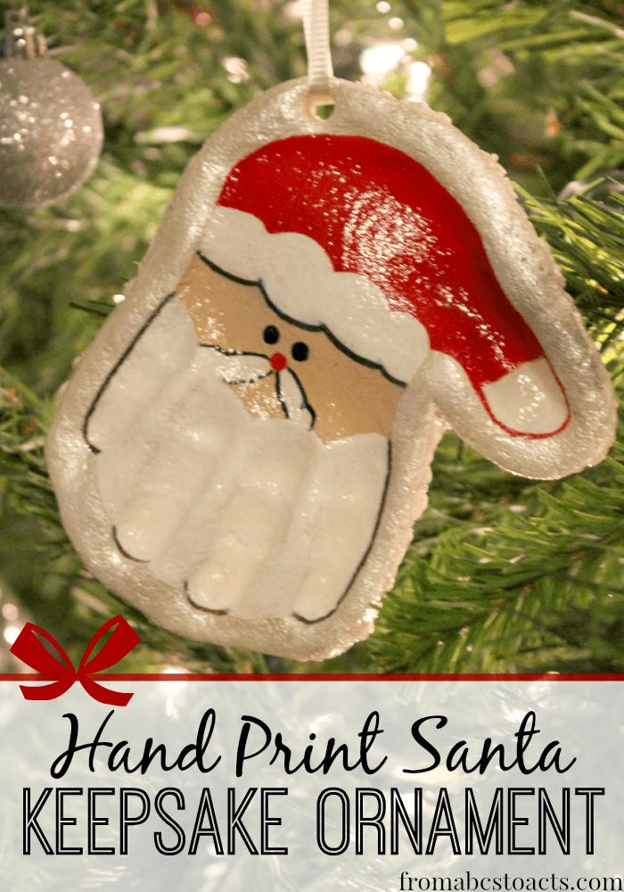 Hand Print Santa Keepsake Ornament Keepsakes, Ornament