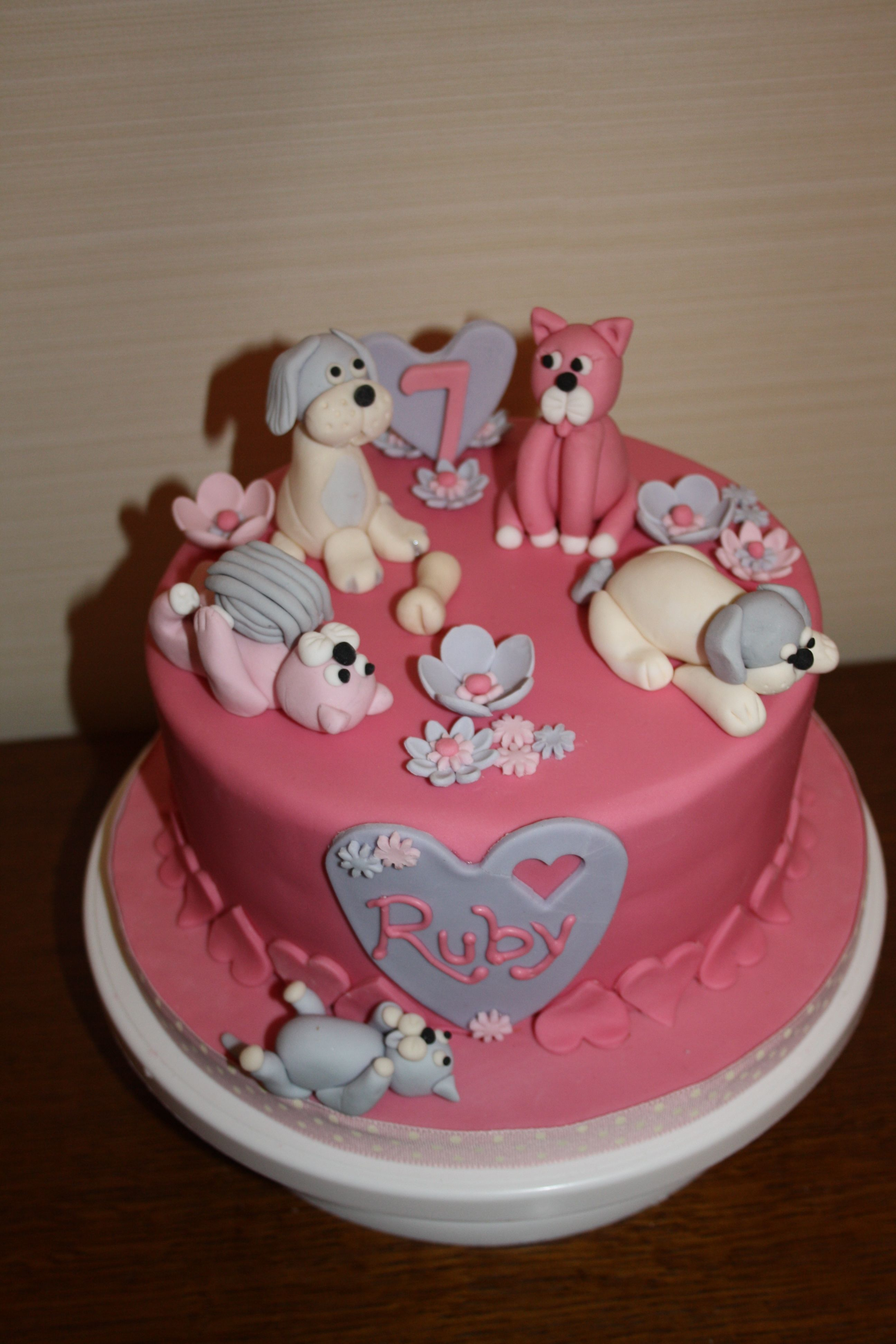 A Birthday Cake For A Very Cute 7 Year Old Who Loves Dogs