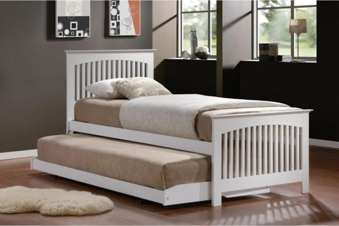 Toronto Single Bed Pullout Guest Trundle In White Or Oak Finish