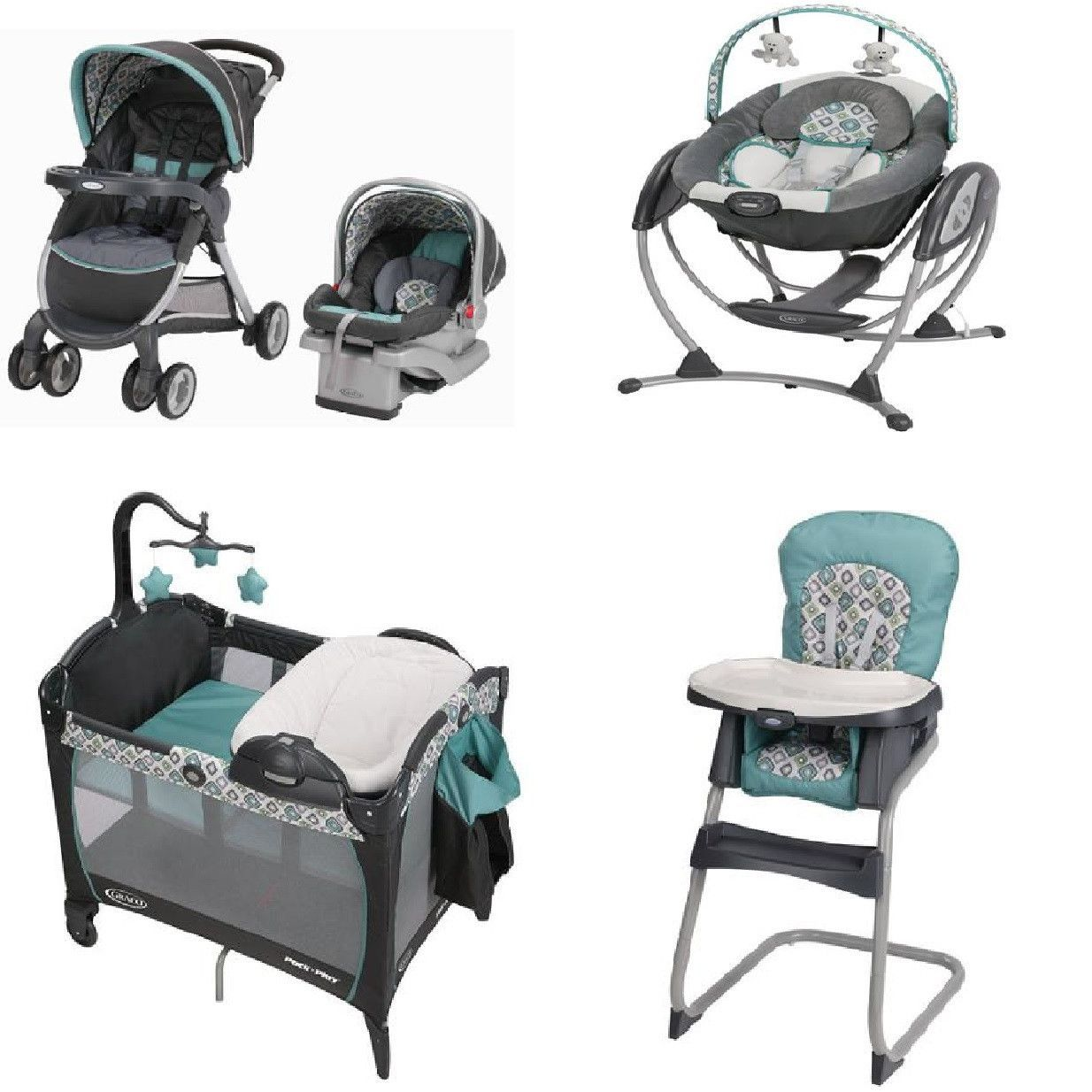 Graco Affinia Blue Complete Baby Gear Bundle, Stroller