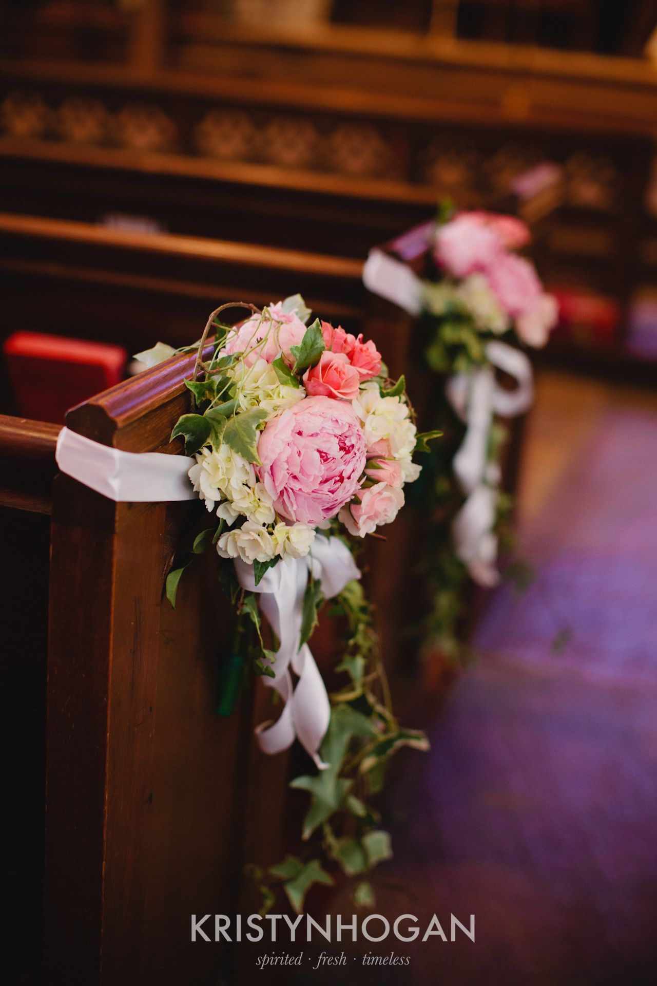 Pink Peony Flowers on Church Pews, Wedding Ceremony in